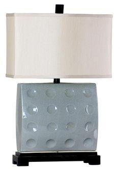 One Light Off White Silk Shade Aqua Table Lamp : 224RL | Masterpiece Lighting