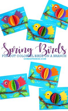 frhlingsdeko basteln This Spring Bird on a Branch Craft is colorful, its fun, and it includes real sticks from nature. It's all the things a fun spring kids craft should be! Kids Crafts, Spring Crafts For Kids, Diy Home Crafts, Craft Projects, Arts And Crafts, Toddler Crafts, Spring Birds, Spring Art, Nature Crafts