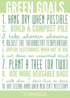 Happy Earth Day - here's my list of green goals to complete these year!Happy Earth Day - here's my list of green goals to complete these year! Green Life, Go Green, Green Living Tips, Help The Environment, Happy Earth, Thinking Day, Eco Friendly House, Living At Home, Frugal Living