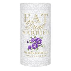 #white - #Wedding Eat Drink and be Married - Purple Flowers Flameless Candle
