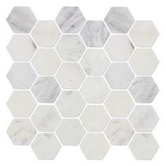 Hampton Tumbled Hex Marble Mosaic Tile - 2 in.