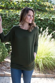 Pink Slate Boutique - Essentially Yours Top (Olive), $32.00…