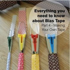 sewing tips Part 4 of our guide to bias tape - this one covers making your own tape, with or without a bias tape maker, strip and continuous methods. Polka Dots' tutorials on how to make your own bias tape and apply it to fabric. Includes info about measu Sewing Tools, Sewing Notions, Sewing Hacks, Sewing Crafts, Quilting Tips, Quilting Tutorials, Sewing Tutorials, Sewing Patterns, Dress Patterns