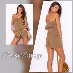 Ruffled Mocha romper Great color in Mocha Ruffled top - elastic waist - side pockets. Unlined . Model is five foot 9 inches and wears size small. Designer calls this gold but it really looks Mocha or taupe. Boutique Dresses Mini