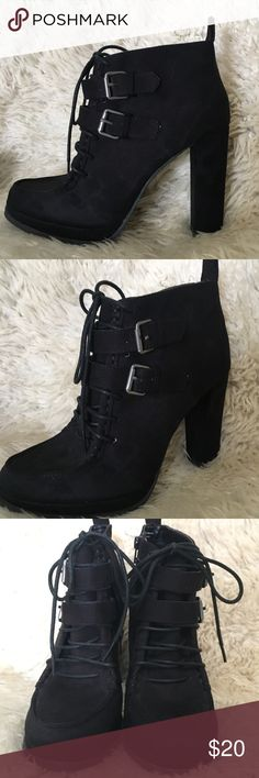 Mossimo Buckle and Lace up Booties These booties feature textile upper balance and a VERY comfy heel. They were not my style so they were only worn once as the bottom of the show looks pristine.  Size is 9 but I wear size 8, 8.5 , and 9 and they fit great!  Open to offers Mossimo Supply Co Shoes Ankle Boots & Booties