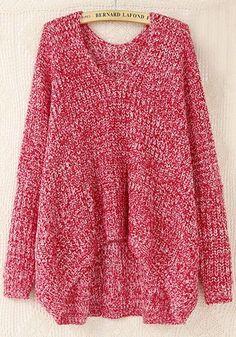Red Plain V-neck Bat Sleeve Wool Blend Sweater