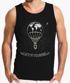 """FLIP DISEÑOS ORIGINALES. Camiseta sin mangas """"Let`s travel"""": Viaja en globo aerostático por el mundo real o un mundo imaginario. Tienda online: www.latostadora.c... FLIP ORIGINAL DESIGNS.  Sleevesless t-shirt """"Let's travel"""". Travel in hot air balloon for the real world or an imaginary world. #globo_aerostático #hot_air_balloon #moon #luna #alas #wings #stars #estrellas #fashion #moda #diseño #design #camisetas #Tshirt"""