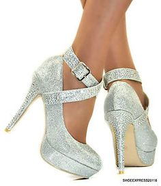 LADIES NEW SEXY SILVER SHIMMER CRYSTALS ANKLE STRAP HIGH HEEL COURT SHOES