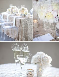 Champagne Wedding. I absolutely love the sparkly linen, so sad I don't think I can get those here in Mexico.
