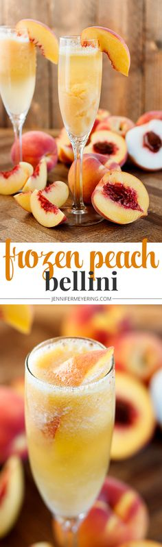 Frozen Peach Bellini - Frozen twist on the classic Bellini made with sparkling prosecco, frozen peaches, and peach nectar for a sweet summertime cocktail. Easy Drink Recipes, Drinks Alcohol Recipes, Cocktail Recipes, Juice Recipes, Top Recipes, Amazing Recipes, Cooking Recipes, Healthy Recipes, Gastronomia