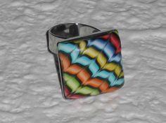 Ringe - Polymer Clay Ring mit Zackenmuster - ein Designerstück von iCo-Design bei DaWanda