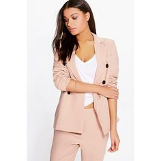 Boohoo Boutique Boutique Libby Double Breasted Blazer ($35) ❤ liked on Polyvore featuring outerwear, jackets, blazers, stone, puffer jacket, pink jacket, bomber style jacket, puffy jacket and pink blazer