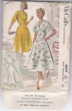 SALE 50s Afternoon Dress Frock Collarless V Pleated Shoulders Cape Sleeve Size 14 Bust 32 Vintage Sewing Pattern McCalls 8979 Complete Uncut...