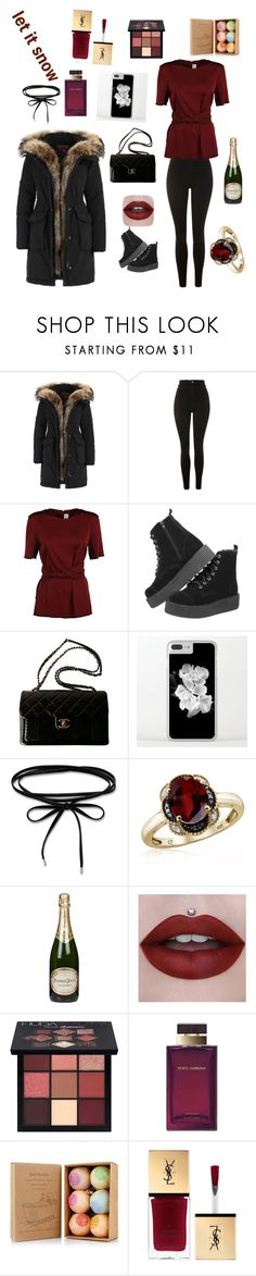 """""""let it snow"""" by wednesday-morning ❤ liked on Polyvore featuring Topshop, Victoria Beckham, T.U.K., Chanel, Jewelonfire, Perrier-JouÃ«t, Huda Beauty and Dolce&Gabbana"""