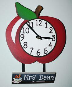 Loving this Apple Teacher Personalized Clock on #zulily! #zulilyfinds