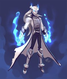 Ice mage white robe blue fire.
