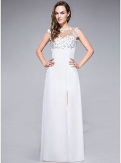 Sheath Column Scoop Neck Floor Length Chiffon Prom Dress With Lace Beading Sequins Split Front 007040809 g40809