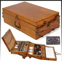 Fabulous rare antique French painter's set, a expanding box with wonderful scroll cut side hinges and many original watercolor cakes or bricks porcelain mixing pots inside! Wood Projects, Woodworking Projects, Woodworking Blueprints, Woodworking Store, Woodworking Supplies, Woodworking Workshop, Pochade Box, Art Studio Organization, Campaign Furniture