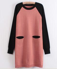 Pink Black Long Sleeve Striped Pockets Sweater Dress - Sheinside.com