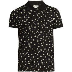 Saint Laurent Star and moon-print cotton-piqué polo shirt ($490) ❤ liked on  Polyvore featuring men's fashion, men's clothing, men's shirts, men's polos,  ...