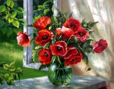 Картины (живопись) : Маки на окне. Автор Жанна Когай