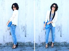 Have the Jacket & Jeans need the t-shirt.. such a cute way to look chic and comfy