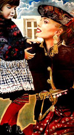 "St. Laurent Woman & Child. 1991 40"" x 80"" Oil on canvas Diptych."