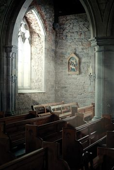 Photo about Old church interior with light coming from a window. Image of church, bright, religion - 18498703 Sacred Architecture, Church Architecture, Light Architecture, Romanesque Architecture, Cultural Architecture, Residential Architecture, Old Country Churches, Old Churches, Abandoned Churches