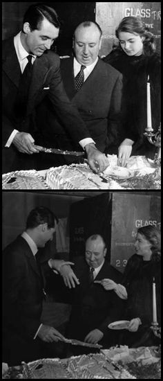 Cary Grant celebrates his 42nd birthday with Alfred Hitchcock and Ingrid Bergman on the set of Notorious, 1946.