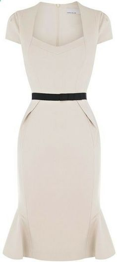 Perfectly Pin Up Cream Dress for a spring affair! :: Rockabilly Fashion:: Pin Up Style:: Pencil Dress:: Retro style