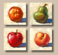 CONTEMPORARY COLORFUL FRUIT STILL LIFE OIL PAINTINGS by TOM BROWN, ORANGE, PEAR, APPLE, PEACH, painting by artist Tom Brown
