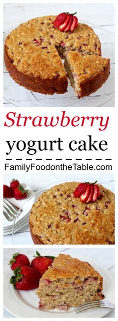Strawberry yogurt cake - light and luscious and no butter or oil! | Family Food on the Table
