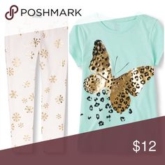 Children's Place Graphic Tee & Foil Print Leggings She'll be one with nature when she wears this graphic tee! 🦋Made of 100% cotton jersey  🦋Rib-knit trim at neck  🦋Leopard print butterfly design at front  🦋Pre-washed for a gentle feel and to reduce shrinkage  🦋Tagless labels; NWT 12717210 Printed leggings in a cozy French terry Knit 🦋 57% cotton/38% polyester/5% spandex  🦋Allover metallic foil snowflake print  🦋Pull-on style with elasticized waist  🦋Full length hits at ankle; NWT…