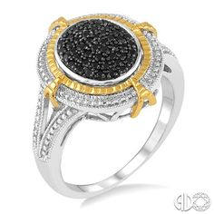 1/5 Ctw Oval Shape Trillion Cut Black Diamond Ring in Sterling Silver Treat the one you love with this remarkable oval shape diamond ring. Fashioned sterling silver this ring is studded with 52 pave set sparkling round cut black diamonds bordered with a frame of shimmering milgrain finish and yellow gold plated. Total diamond weight is 1/5 ctw. Colored Diamonds may have been enhanced by heating or irradiation.  	Style#	 :	 87227DESKSLRG  	Item Price	 : $240.00
