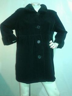 FRENCH CUFF BLACK long empire coat jacket cotton CORDUROY Button Frnt XL 3/4 slv #FRENCHCUFF #COATJacket