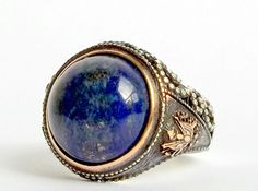 925 STERLING SILVER MEN'S RING WITH TOTALLY HANDMADE UNIQUE REAL LAPIS LAZULI