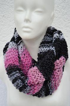 Loop Schlauchschal Schal rosa pink grau gestrickt