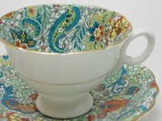 Radfords bleu vert Orange Paisley Chintz tasse et soucoupe Vintage Fine Bone China Made in England