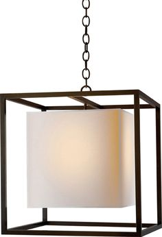 """Caged lantern with paper shade""; bronze; Circa Lighting; $903; http://www.circalighting.com/details.aspx?pid=1350&cid;=4"