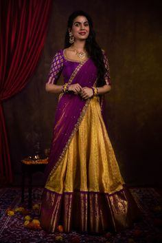 To get your outfit customized visit us at Madinaguda Hyd Call/msg us at 9059019000 / or mail us at… Lehenga Saree Design, Half Saree Lehenga, Pattu Saree Blouse Designs, Lehnga Dress, Saree Blouse Patterns, Lehenga Designs, Half Saree Designs, Fancy Blouse Designs, Bridal Blouse Designs