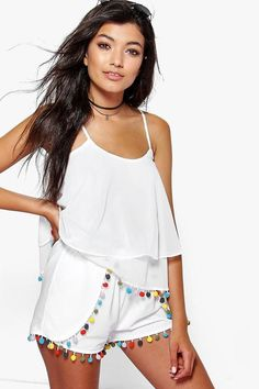 boohoo Naomi Multi Colour Pom Pom Beach Shorts