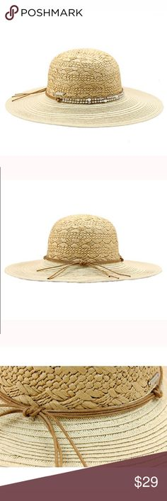 New women's floppy sunhat with rhinestone band Paper straw hat with rhinestone band. 4 inch brim. One size fits most women (head circumference is about 57cm) The Hatter Company Accessories Hats