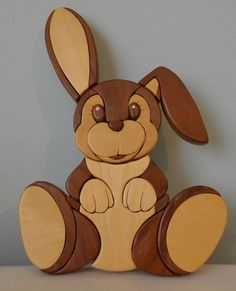 Hand Carved Wood Art Intarsia Home Decor Bunny Rabbit Wall Hanger Plaque