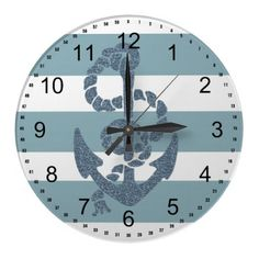 Nautical Stripes Anchor Wall Clock