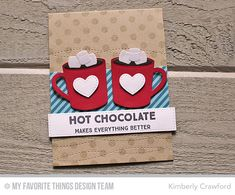 Hug In a Mug, Polka Dot Background, Hot Cocoa Cups Die-namics, Homespun Stitch Lines Die-namics, Stitched Cover-Up Companion - Horizontal - Kimberly Crawford #mftstamps