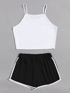 Camisole short with shorts with contrasting trim - Alessandra A. Camisole kurz mit Shorts mit Kontrastbesatz - Alessandra A. , Camisole kurz mit Shorts mit Kontrastbesatz - Alessandra A. Cute Lazy Outfits, Teenage Outfits, Sporty Outfits, Outfits For Teens, Trendy Outfits, Cool Outfits, Pajama Outfits, Crop Top Outfits, Crop Top And Shorts