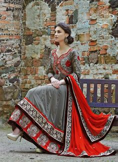Grey Faux Georgette Dual Layered Anarkali Suit