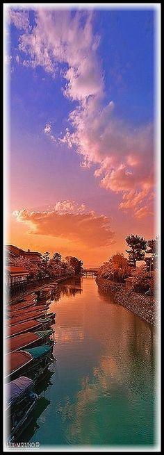 Dusk of Uji River Ujigawa Uji River Kyoto water Japan #by Nualchemist #landscape sky clouds sunset sun sunlight sunrise nature reflection amazing water lake sea  creek rocks boats