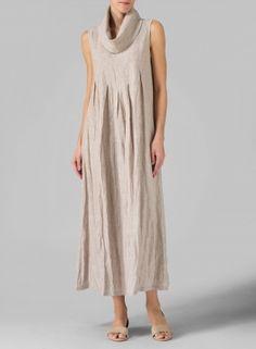 Linen Sleeveless Cowl Neck Long Dress