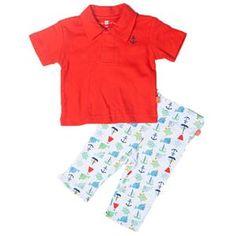 Boy's Nantucket Red Polo Shirt + Pants